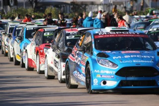 Monte-Carlo - JAN 24 : Rally Cars are Lined up on the port Hercule of Monaco WRC Monte Carlo Rally 2016, south of France on January 24, 2016 in Monte-Carlo, Monaco